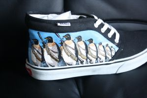 Custom painted Penguin Army shoes by methodmonkey