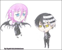 Chibi Death the Kid and Crona for CrazyAnime3 by khryztal-dark