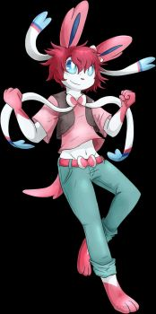 Shar the Sylveon sketch vs. finished commission by OzzieScribbler