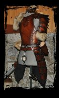 female leather armor barbarian back view by Lagueuse