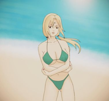 Tsunade Cooling Down At The Beach by VortexOfSaturn