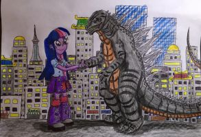 Godzilla and Twilight Hand In Friendship by BozzerKazooers