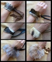 Ball python and fur bracelets by lupagreenwolf