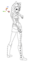 Ahsoka in a Crystal Cty Lineart by Chrisily