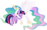 Princess Celestia and Twilight Sparkle Hugging (2) by 90Sigma