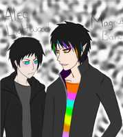 Alec Lightwood and Magnus Bane by ArlertArmin