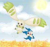Terriermon and Demiveemon by lowlaury