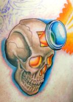 Mike's skull - First Session by Sirius-Tattoo
