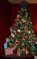 Elaborately Decorated Christmas Tree With Gifts by DamselStock