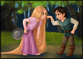 Rapunzel and Flynn by Moon-DaZzLe