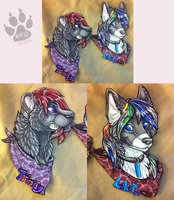 Couples badge commission by nightspiritwing