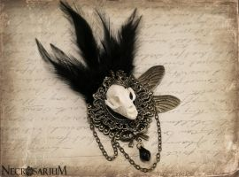 Feathered Bat Skull Brooch by Necrosarium