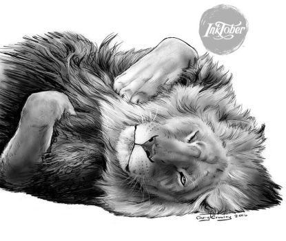 Inktober Day 15 Lion Relaxing by silvercrossfox