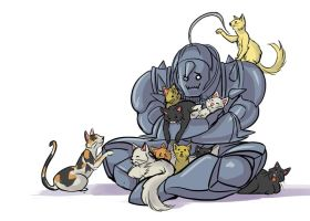 Alphonse With All The Kitties by l-Ataraxia-l