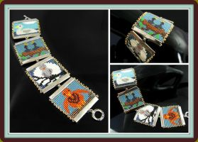 Bead loomed bird square cuff by CatsWire
