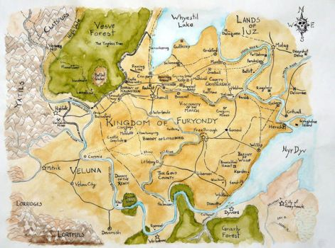 Furyondy Watercolor Map by Raineach