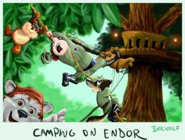 Camping on Endor by inkwolf