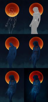 Red Moon - Step by step by 6worldangel9
