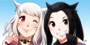 2 Miqo'te girls for Vaniraa by lita426t