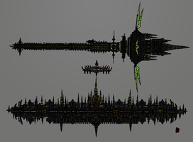 Megalopolis City Station and Vortex Ship by TenebraesRising