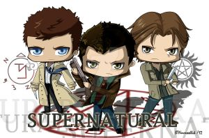 Supernatural, Dean, Sam and Castiel by Shiro-Beezee