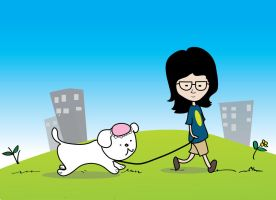 girl with dog by mareanna