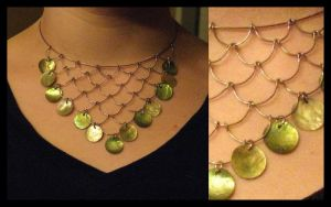 Green Shell Necklace by Leimanas