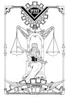 steam tarot: VIII la justicia by Yurio-Art