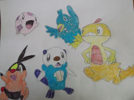 Ducklett. Munna, Oshawott, Tepig, and Scraggy by FlyingLion76