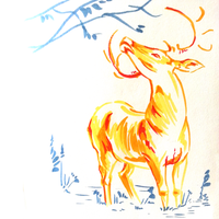 Inktober 6 - Yellow Deer by e-pona
