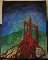Cross (watercolor) by DrowningSignificance