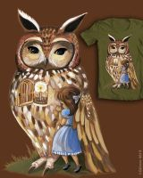 UNder Your Wing Owl Threadless Submission by BlueBirdie