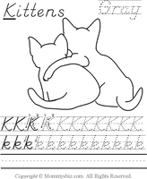 Mommysbiz | K-Kittens-Gray Preschool Worksheet by DanaHaynes