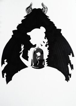 Beauty and the Beast Silhouette Art by Hoshino-Libra