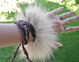 Ravens Flight - Real Wolf Fur Leather Bracelet by MorRokko