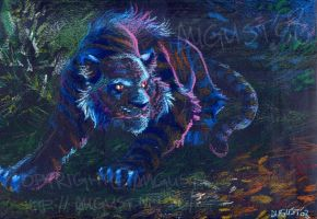 Blue Tiger - oil pastels by AugustAnna