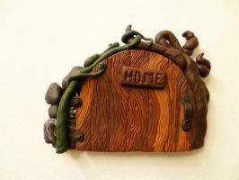 Leaf Handle 'Home' Fairy Door by FlyingFrogCreations