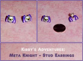 Kirby - Meta Knight Charm Stud Earrings by YellerCrakka
