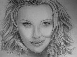 Scarlett Johansson Drawing Finished by EWALK131