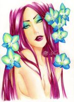 - Superbia - Turquoise Orchids - by ooneithoo