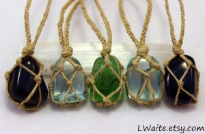 Blue Goldstone and Obsidian Hemp Wrapped Necklaces by LWaite