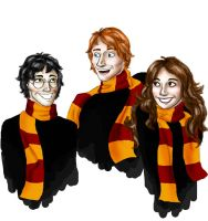 The Golden Trio - HP by girlwithquill