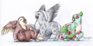 A Happy Bunch Of Gryphons by Penguinity