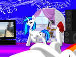 Gaming at Vinyl's Place 1st Pony View by XxFlamerunnerxX