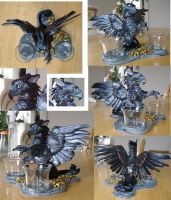 Black Gryphon votive holder by silvermoonnw