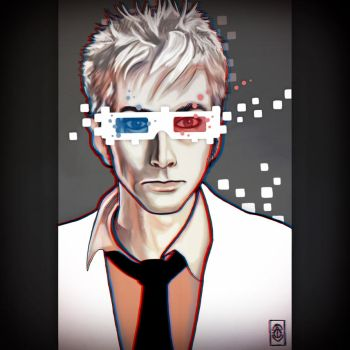 Tenth Doctor in 3D Glasses with unneccessary 8bit. by corinnealexishall
