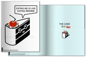 Greeting Card - Cake Is A Lier by nikkoli
