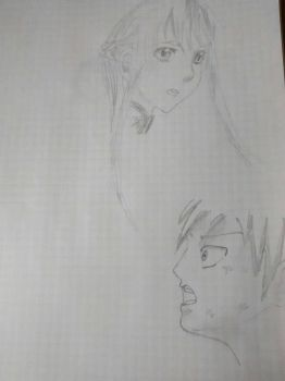 Trying to draw manga - failed (Asuna and Natsu) by MagicalWendyBloom