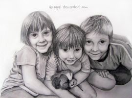Kids Pencil portrait commission 7 by Ivyel