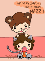 Kitten Hazz and Boo Bear with his carrot by chickyrabb